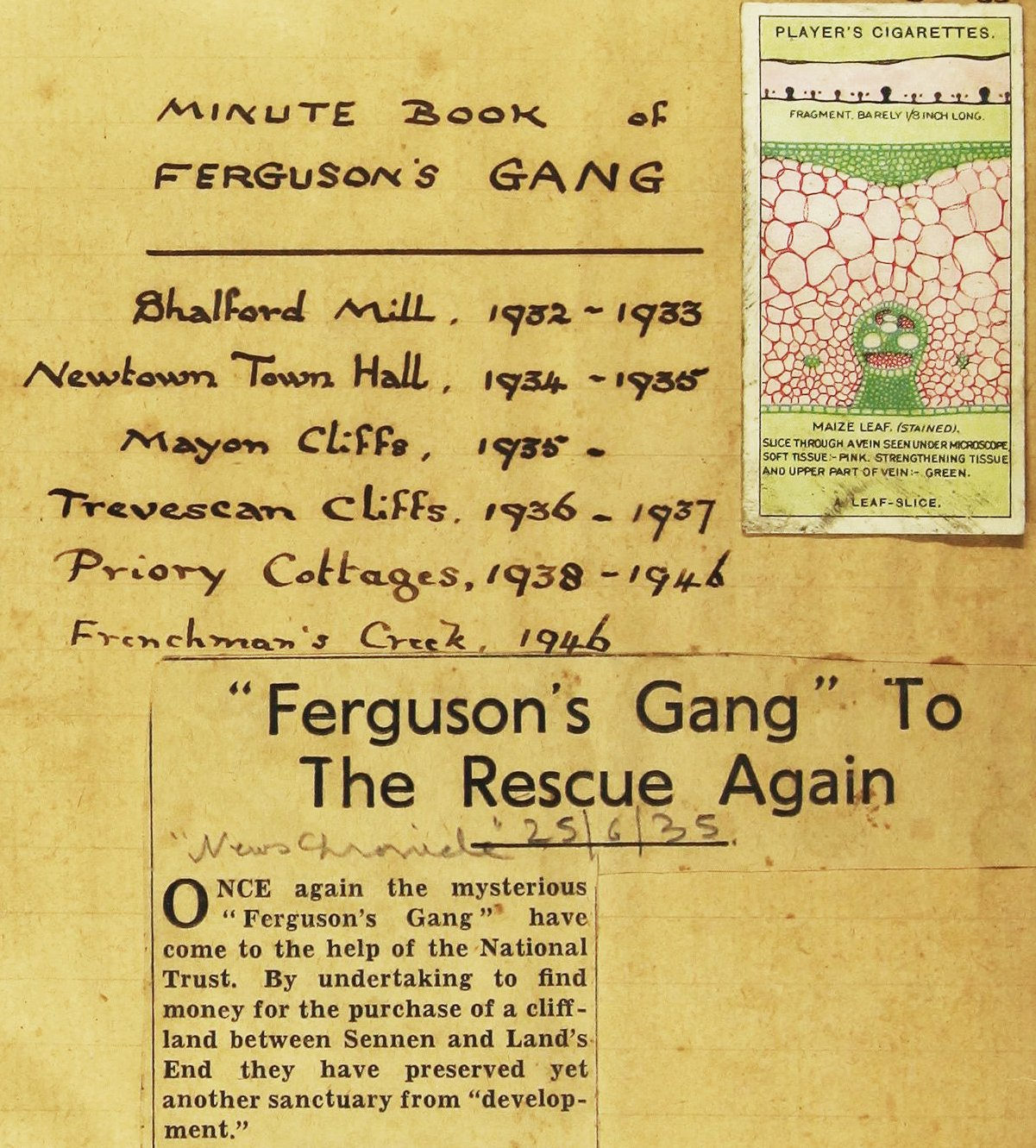Fergusons gang minute book with Shalford Mill, Newtown Old Town Hall, Mayon Cliffs, Trevescan Cliffs, Priory Cottages, Frenchman's Creek